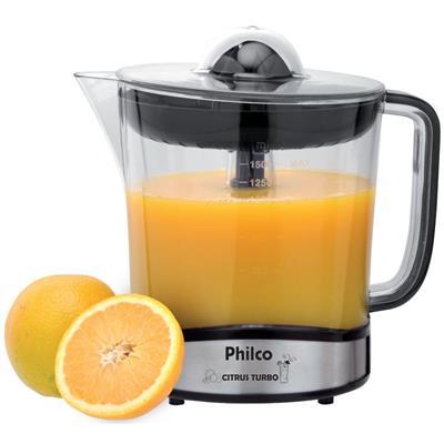 Espremedor de Frutas Philco Citrus Turbo 1,5 Litros preto e Aço Escovado