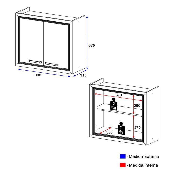 Aéreo Multimóveis 5023 2 Portas 80cm