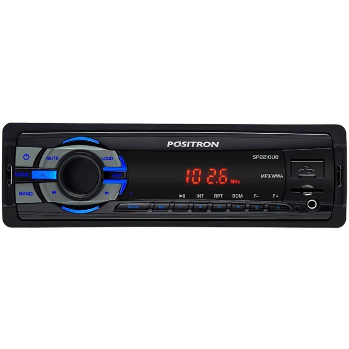Auto Rádio Pósitron SP2210UB MP3 FM SD USB Entrada Auxiliar
