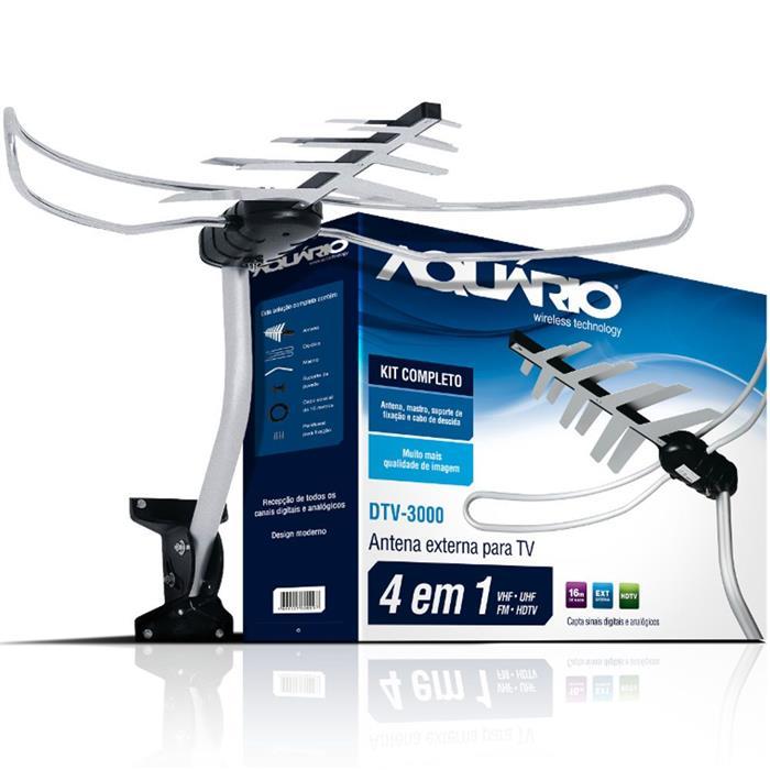 Antena Externa de TV Aquário DTV-3000 Analógica e Digital
