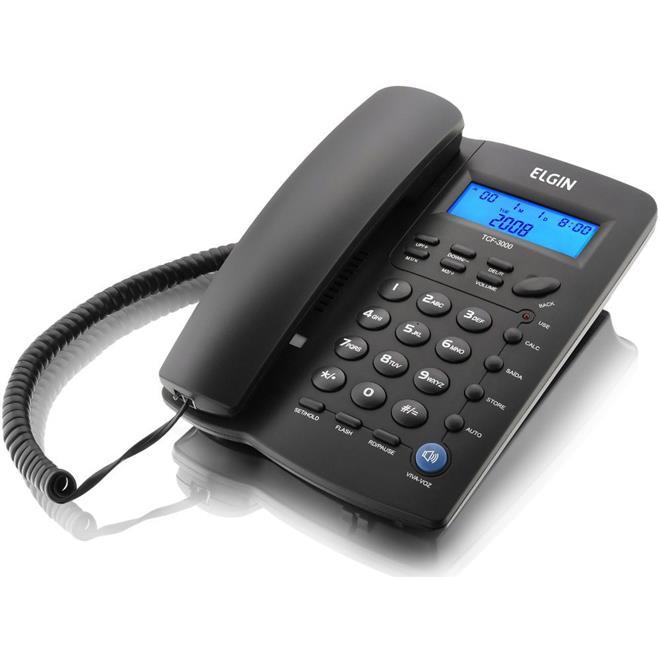 Telefone Fixo Elgin TCF 3000 com Identificador de Chamadas