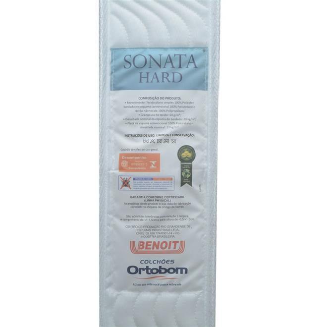 Colchão Solteiro Ortobom Sonata Hard D23 88x188x14cm