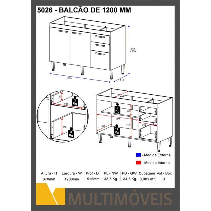 Balcão Multimóveis 5026 120cm 2 Portas 3 Gavetas