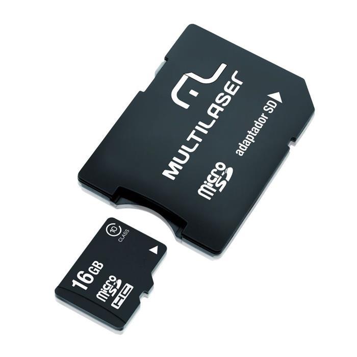 Kit Multilaser MC112 com Adaptador SD + Cartão de Memória 16GB + Leitor de Cartão