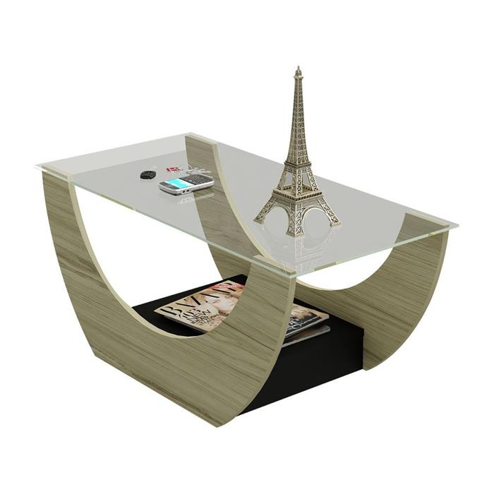 Mesa de Centro Artely Onda com Vidro