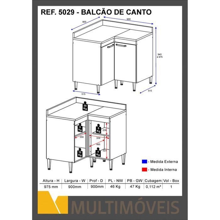 Balcão de Canto Multimóveis 5029 2 Portas com Tampo