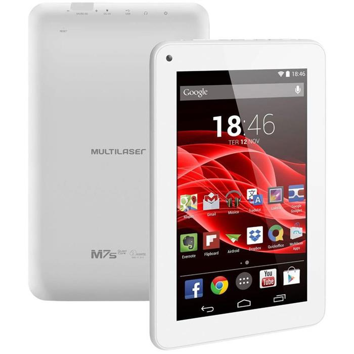 """Tablet Multilaser NB185 Tela 7"""" 8GB Quadcore Android 4.4"""