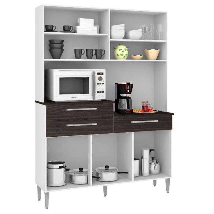 Cozinha Compacta Kits Paraná Kits Órion 6 Portas 3 Gavetas Nogal/Arena