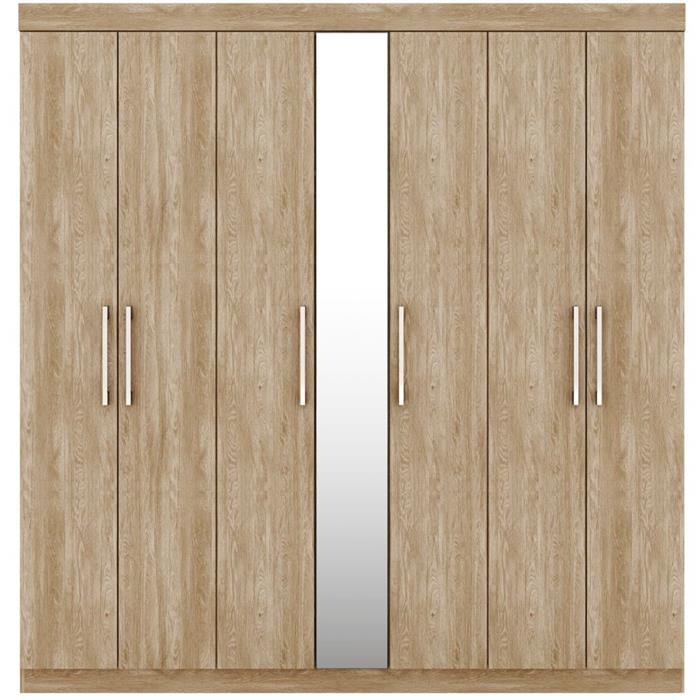 Guarda Roupa Demóbile London 7 Portas 3 Gavetas com Espelho Nogal