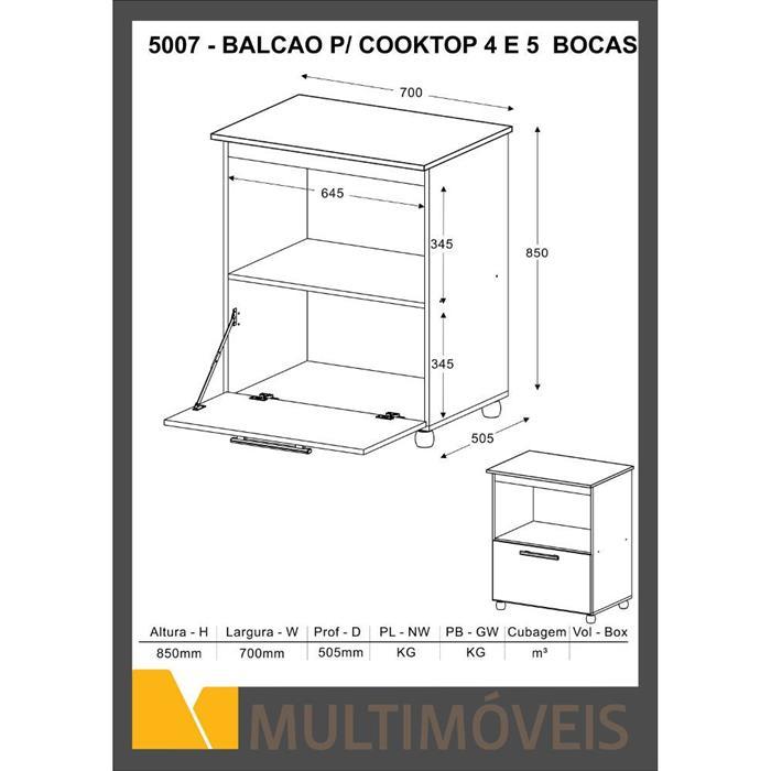 Balcão Multimóveis 5007 para Fogão Embutido e Forno 1 Porta