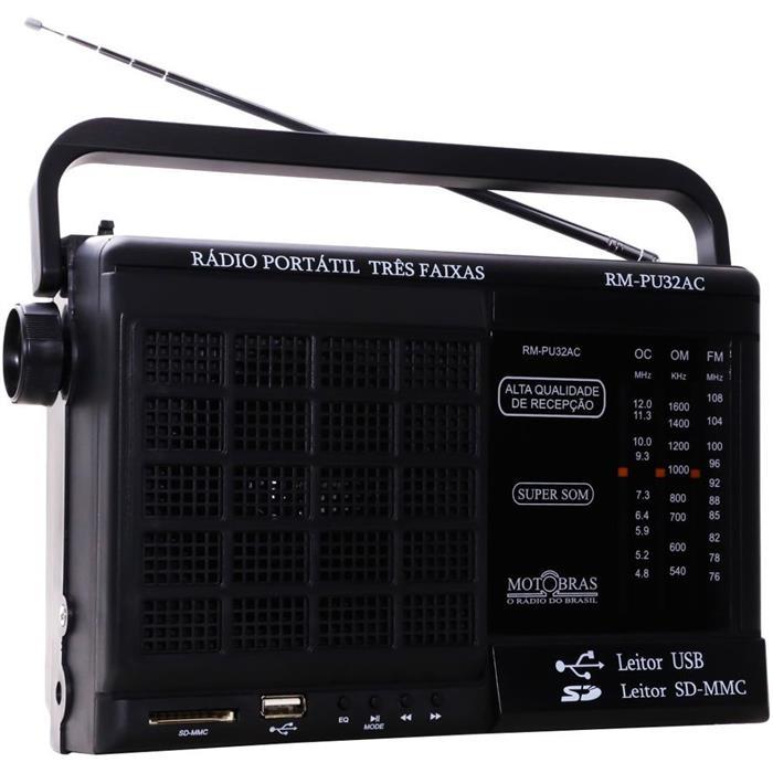 Rádio Motobrás RM-PU32AC 3 Faixas USB SD