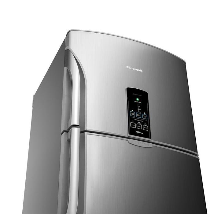 Refrigerador Panasonic Regeneration NR-BT49PV2XA Duplex Inverter 435 Litros Frost Free Aço Escovado