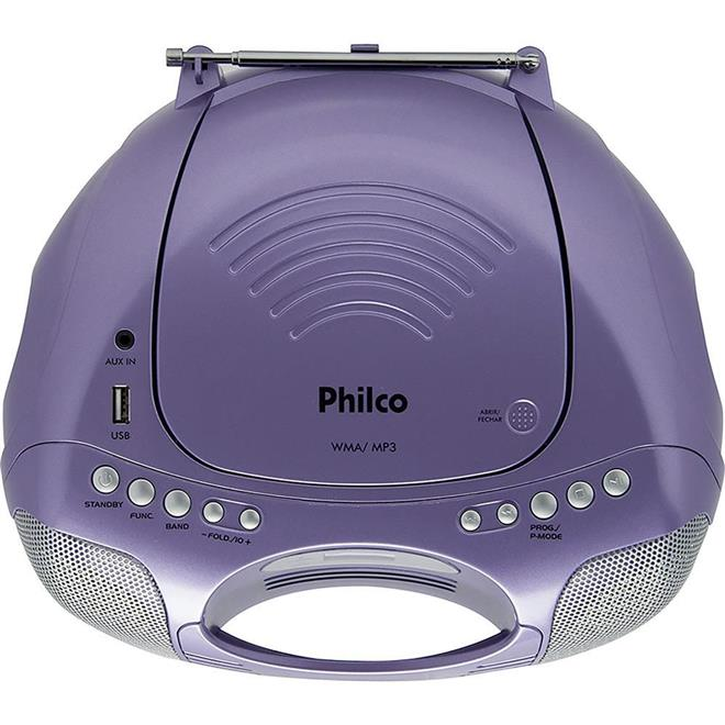 Som Portátil Philco PB119L Mp3 Entrada USB CD Player Rádio FM