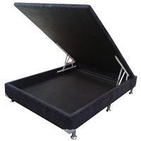 Base Box Casal Ortobom Camursa Nero com Baú 138x188x25cm