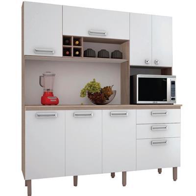 Cozinha Compacta Kits Paraná Esmeralda 7 Portas 3 Gavetas Nogal/Branco