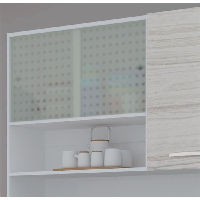 Cozinha Compacta Kit's Paraná Vitrus 1862 8 Portas 2 Gavetas MDP Rovere Dubai