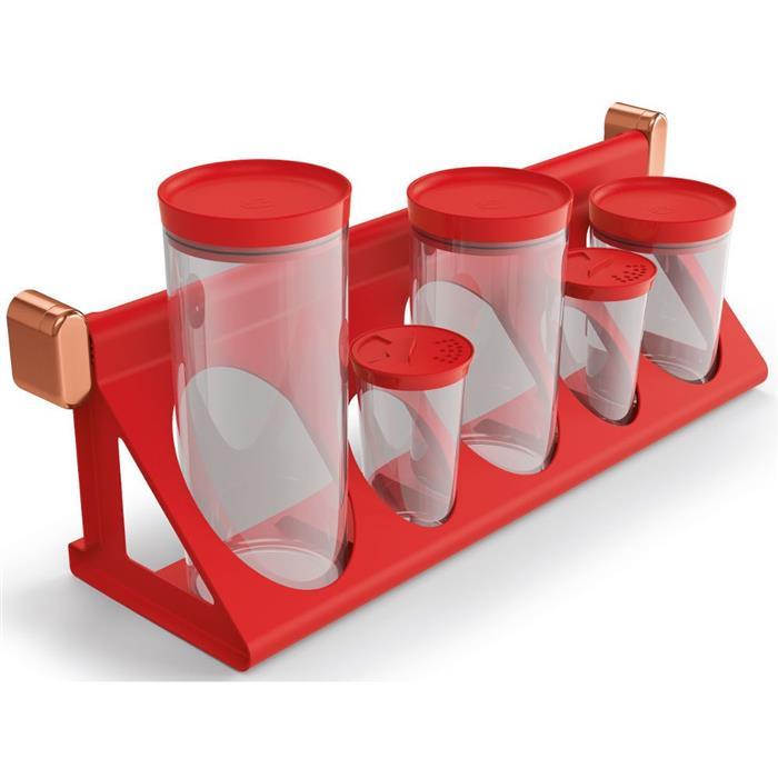 Suporte Porta-Condimentos UZ UZ356 6 Peças Vermelho
