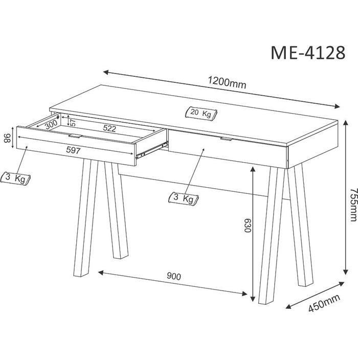 Escrivaninha Tecnomobili ME4128 2 Gavetas