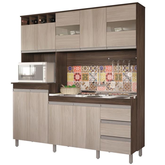 Cozinha Compacta Moveis Sul 4672 Isadora MDP 9 Portas 3 Gavetas