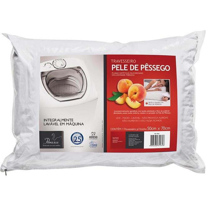 Travesseiro Fibrasca Pele de Pêssego Lavável em Máquina 50x70cm