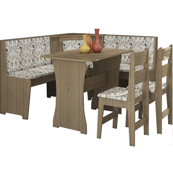 Conjunto Canção Canto Alemão com Mesa e 2 Cadeiras MDF 4 Lugares Nogal
