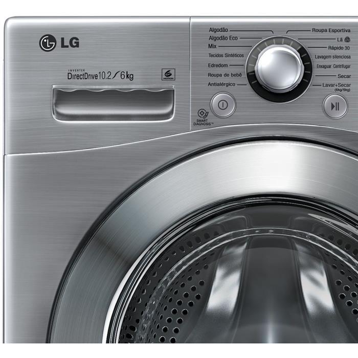 Lava e Seca LG Big Door WD1412RT7 10,2KG Painel Touch Aço Escovado