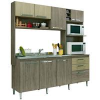 Cozinha Compacta Gralar Blume 173 MDP 8 Portas 2 Gavetas Nover/Carvalho