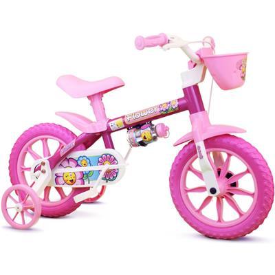 Bicicleta Infantil Nathor Flower Aro 12 com Cestinha