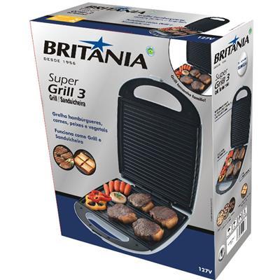 Grill e Sanduicheira Britânia Super Grill 3 Antiaderente