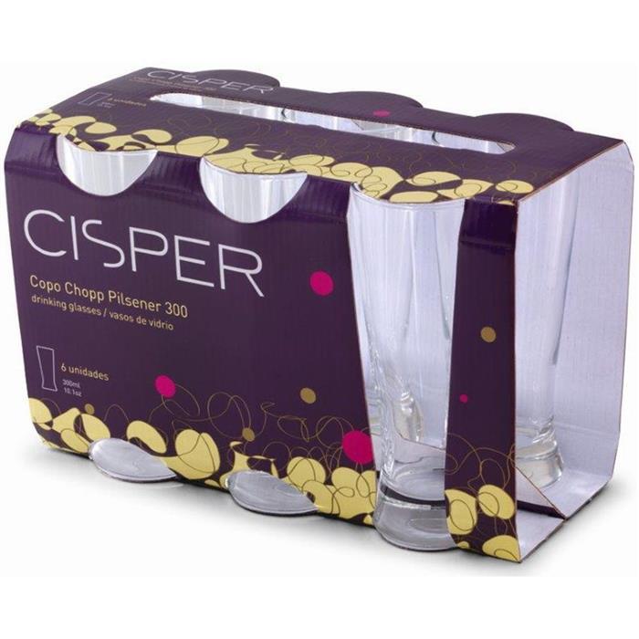 Jogo de Copos Cisper Pilsener 328/23 300ml 6 Peças