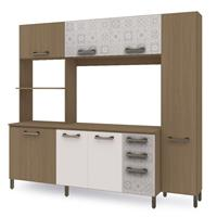 Cozinha Compacta Kappesberg Sense E780 7 Portas 3 Gavetas Nature/Branco/Azulejo