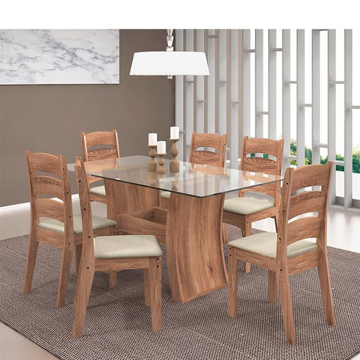 Conjunto Celta Mesa Pérola MDF com Tampo de Vidro com 6 Cadeiras Monique