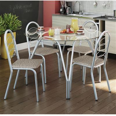 Conjunto Kappesberg Mesa CMC215-C com Tampo de Vidro com 4 Cadeiras C009CR