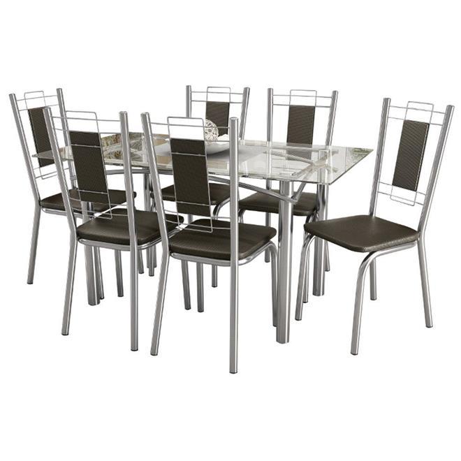 Conjunto Kappesberg Mesa CMC230 com Tampo de Vidro com 6 Cadeiras C005CR