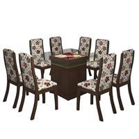 Conjunto Viero Mesa Florenza com Tampo de Vidro com 8 Cadeiras Click