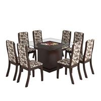 Conjunto Viero Mesa Florença com Tampo de Vidro com 8 Cadeiras Click B55