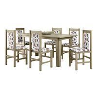 Conjunto Canção Mesa 10302 MDF com 6 Cadeiras 100