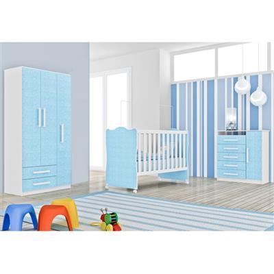 Quarto Infantil Completo Rodial com Berço Cômoda Guarda-Roupa Azul