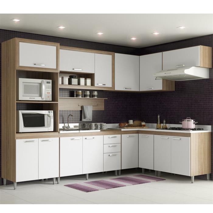 Cozinha Completa Multimóveis Toscana MDP 14 Portas 3 Gavetas 8 Peças