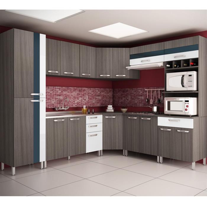 Cozinha Completa Móveis Sul Paloma MDP 16 Portas 4 Gavetas 8 Peças