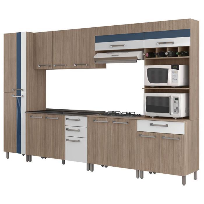 Cozinha Completa Móveis Sul Paloma MDP 13 Portas 4 Gavetas 6 Peças