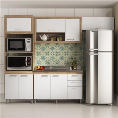Cozinha Completa Multimóveis Toscana 8 Portas 3 Gavetas 4 Peças com Nicho Argila/Branco