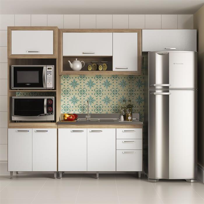 Cozinha Completa Multimóveis Toscana 8 Portas 3 Gavetas 4 Peças com Nicho