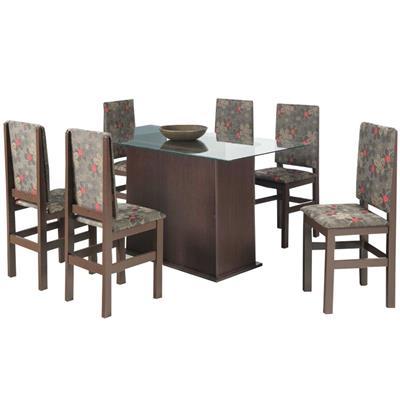 Conjunto Zamarchi Mesa 118 com Tampo de Vidro com 6 Cadeiras Floral Escura