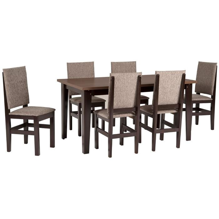 Conjunto Zamarchi Mesa Tabaco com 6 Cadeiras Bege Jaquart