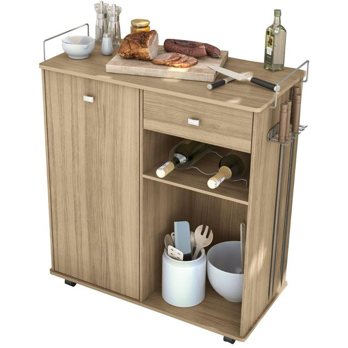 Carrinho Auxiliar Multimóveis Gourmet Plus 2504 1 Porta 1 Gaveta MDP e MDF