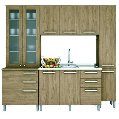 Cozinha Completa Henn Space 10 Portas 5 Gavetas 5 Peças Rústico