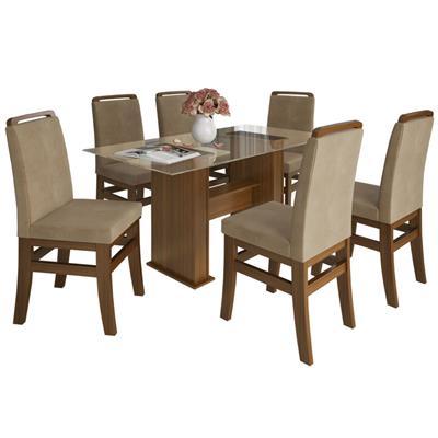 Conjunto Zamarchi Mesa 123 com Tampo de Vidro com 6 Cadeiras 16 Cacau Pena Suede