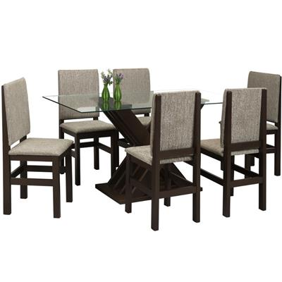 Conjunto Zamarchi Mesa Bella 114 MDF com 6 Cadeiras Jaquart 2012