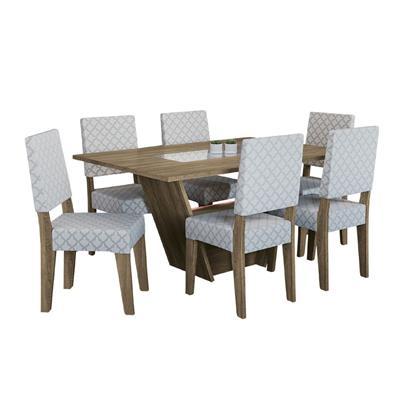 Conjunto Kappesberg Mesa CSJ012 MDP com 6 Cadeiras 2CAD102 E004 MDF Estofada